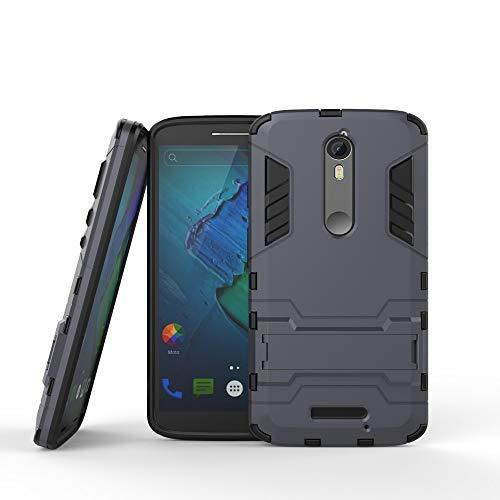 COOVY® Cover für Motorola Moto X Force Bumper Case, Doppelschicht aus Plastik + TPU-Silikon, extra stark, Anti-Shock, Standfunktion | Farbe Navyblau