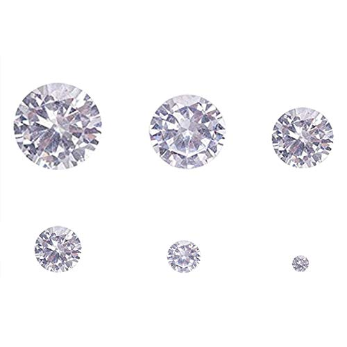 60pcs/Box Clear Cubic Zirconia Stone Loose CZ Stones Faceted Cabochons Rhinestone 6 Size(1-6mm) Pointed Back Diamante Gems for Nail Art Earring Bracelet Pendants DIY Craft Making