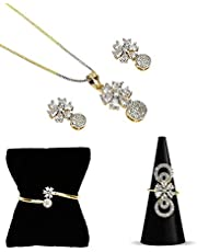 YouBella Jewellery Set for Women Combo of Necklace Set with Earrings, Bracelet and Ring for Girls and Women (White)