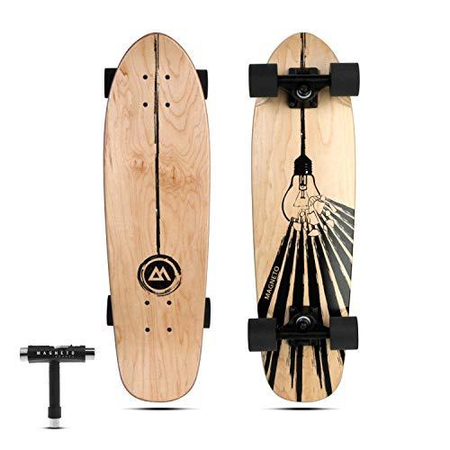 Magneto Mini Cruiser Skateboard Cruiser   Short Board   Canadian Maple Deck - Für Kinder, Jugendliche und Erwachsene (Light-Bulb)