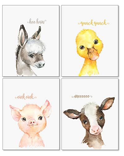 Confetti Fox Baby Farm Animals Nursery Decor Wall Art  Cow Pig Donkey Duck  Toddler Kids Room Barnyard Watercolor Paintings Posters (8x10 Unframed Set of 4 Prints)