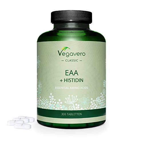 EAA Amino Acids Vegavero | with BCAA and L-Histidine | Better Than Powder – 300 Tablets | NO Artificial ADDITIVES | 100% Natural | Vegan