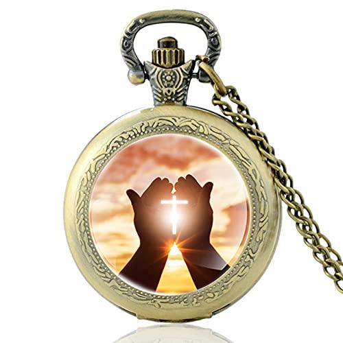 TUDUDU Clásico Christian Prayer Time Design Bronce Vintage Cuarzo Reloj De Bolsillo Hombres Mujeres Charm Colgante Collar Horas Reloj Regalos Longitud Cadena Aproximadamente 80 Cm