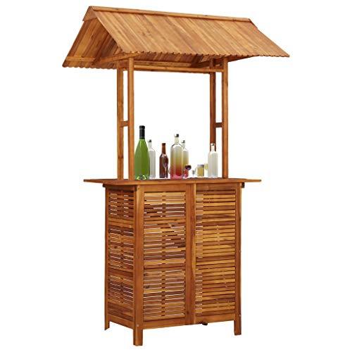 Festnight Outdoor-Bartisch mit Dach 122×106×217 cm Akazie Massivholz Tisch Holztisch
