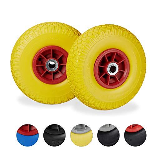 """Relaxdays diable, 2x roue de brouette caoutchouc, 3.00-4"""", 260 x 85 mm, pour axe de 20 mm, jaune-rouge, Lot de 2"""
