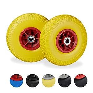 Relaxdays 2X Ruedas de Carretilla, Neumáticos de Goma, 3.00-4, Eje de 20mm, hasta 80 kg, 260x85 mm, Amarillo y Rojo