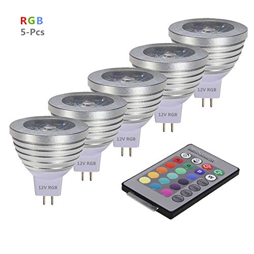 OMTO MR16 3W RGB Color Changing Spotlight with IR Remote Control Mood Ambiance Lighting Colorful LED Light Bulbs,Landscape Lighting Dimmable 12V (Pack of 5)