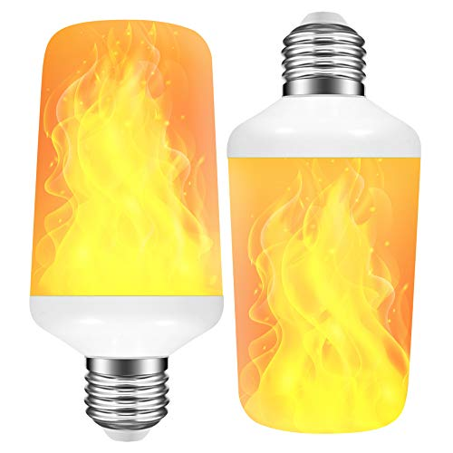 [2 Pack] LED Flame Effect Light Bulb with 4 Lighting Modes and Upside-Down Feature, 7W E26 Standard...