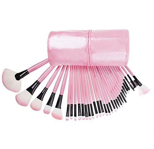Distinct® 32pcs Doux sourcil cosmétiques Fard à paupières Maquillage Pinceau Kit avec Pouch Bag (Rose)