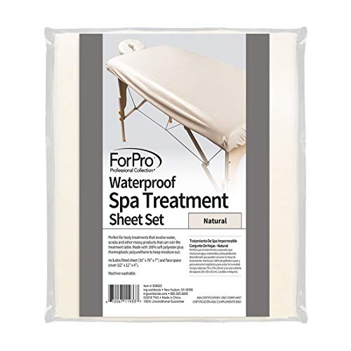 ForPro Waterproof Spa Treatment Polyester Massage Sheet Set, Machine-Washable, Ideal for Massage Tables, Includes Massage Fitted Sheet and Massage Face Rest Cover - Natural