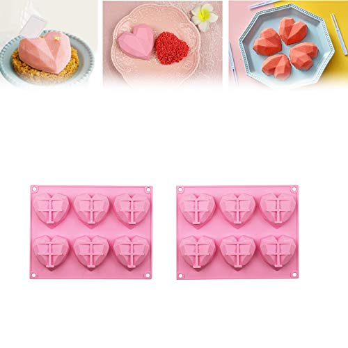 6-hole heart-shaped decorative mold 3D Diamond Heart Shaped Silicone Dessert Bakeware Mold Used in cakes, chocolate, mousse, biscuits, ice cream, pudding, jelly, frozen snacks(2pcs)
