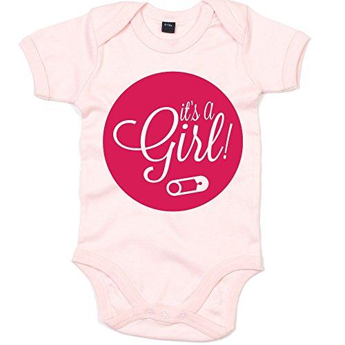 It's A Girl 01 Babystrampler | Strampler | Bodysuit | Babybody | Babyeinteiler | Oeko-TEX ® 100 Standard, Farbe:Babyrosa (Powder Pink BZ10);Größe:0-3 Monate