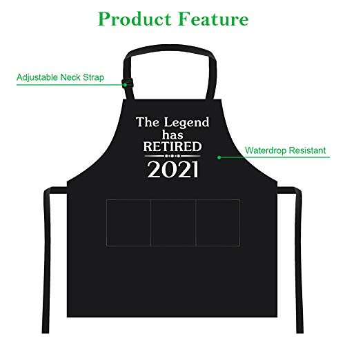 2021 Retirement Gift Apron for Men and Women, Funny 2021 The Legend Has Retired Apron with 3 Pockets, Happy Retirement Gifts for Office Coworkers, Boss, Husband, Dad, Mom, Friends