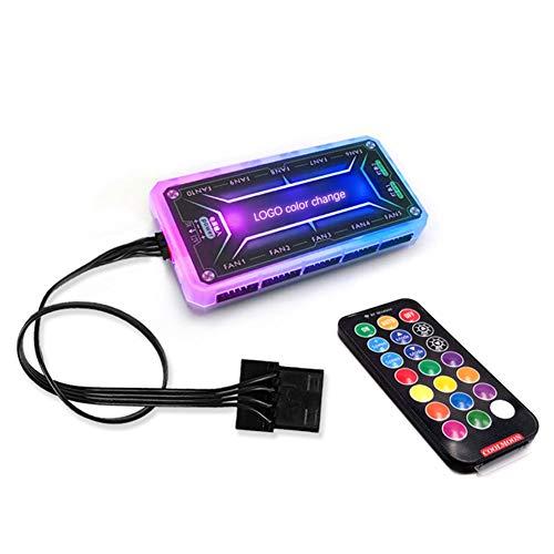 Ggdoo para Caja de la PC del Ventilador de refrigeración del Ventilador del Adaptador LED RGB + Mando a Distancia inalámbrico RF Control Remoto del Ordenador Accesorios Controlador