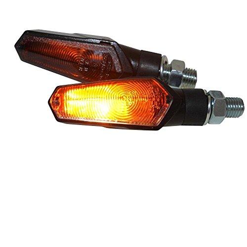 Halogen Mini-Blinker schwarz getönt universal für Motorrad Roller Quad, 12V 6W, M10 95mm inkl E-Nummer
