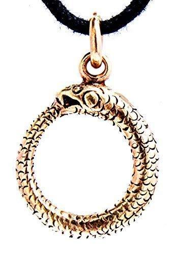 Kiss of Leather Midgard Schlangen Anhänger aus Bronze mit Baumwollband