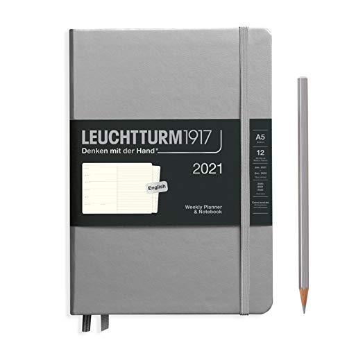 LEUCHTTURM1917 361857 Wochenkalender & Notizbuch 2021 Hardcover Medium (A5), 12 Monate, Silber, Englisch