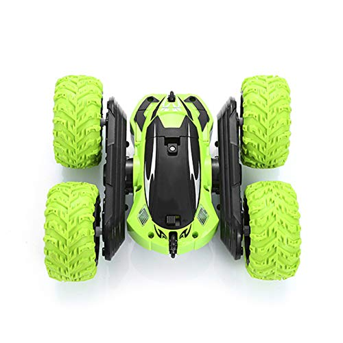LJKD Coche de Control Remoto Stunt Cars 4WD 2.4Ghz Vehículos giratorios de Doble Cara Giros de 360 °, Camiones de Juguete para niños con Faros Delanteros para niños,Verde