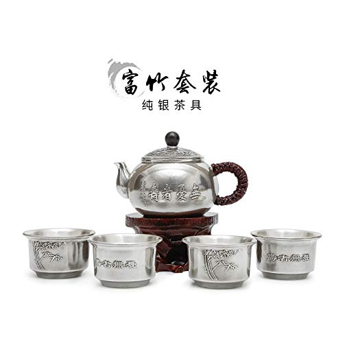 HMXCC Juego de té de plata de ley 999 Rich Bamboo Tea Tea Cup Manual Kung Fu Teapot Hogar Juego de té completo