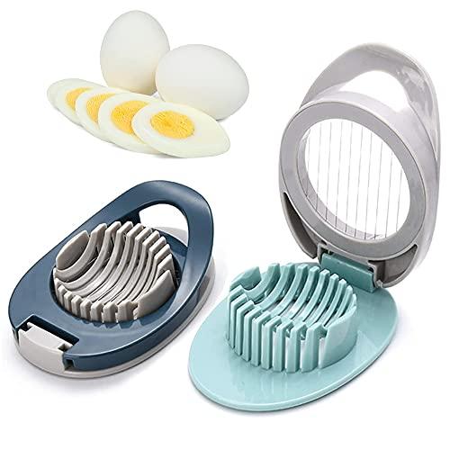 2 Stück Eierschneider aus Edelstahl, Eierschneider aus Kunststoff, Multifunktionaler Eierschneider, Schneller und Effektiver Slicer mit Scharfem Draht für Gekochte Eier, Schinken(Blau, Grün)