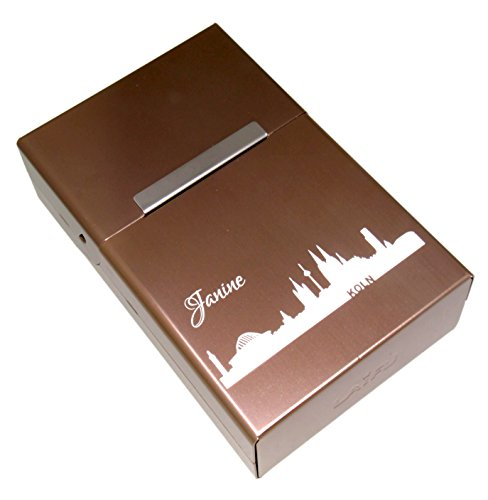International Connection Zigarettenetui aus Aluminium mit Ihrer persönlichen Gravur Personalisiertes Geschenk