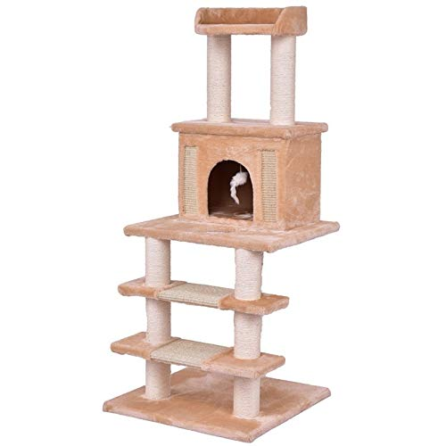 Kalmerende Bed Plush Huisdier van de kat die Boom beklimmen Met Ladder Play House Tower Condo Bed Cats krabmeubels Kitten Hout Cat Furniture Supplies Dog Tag