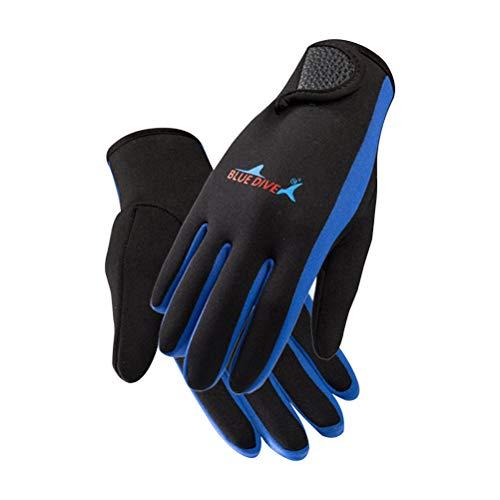 Tauchhandschuhe für Männer und Frauen tragen Rutschfeste Handschuhe Schnorcheln Kratzer Prävention Sonnencreme (Blue Bar L)