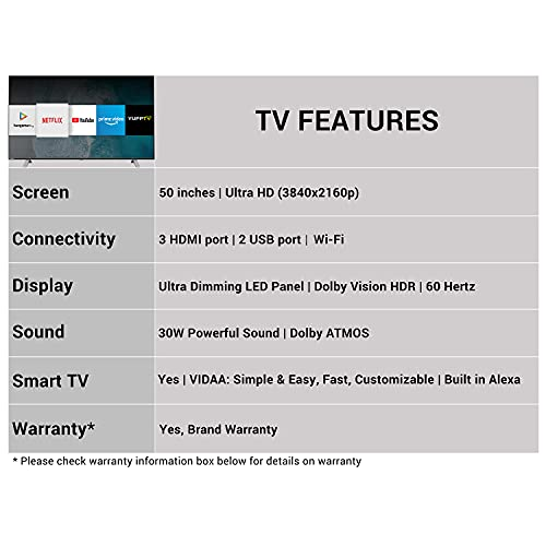 Toshiba 126 cm (50 inches) Vidaa OS Series 4K Ultra HD Smart LED TV 50U5050 (Black) (2020 Model) | With Dolby Vision and ATMOS 3
