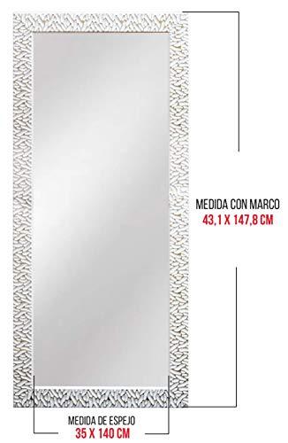 Chely Intermarket, Espejo Cuerpo Entero 35x140cm (Marco Exterior 43,1x147,8cm) (Blanco/Raya Plateado) MOD-156 | Forma Rectangular | Decoración de salón, recibidor | Acabado Elegante (156-35x140-6,40)