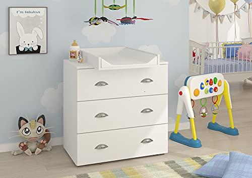 Commode à Langer bébé Enfant Blanc Table à Langer + Matelas à Langer Amovible 80x71,8x90cm- 3 Tiroirs MIA