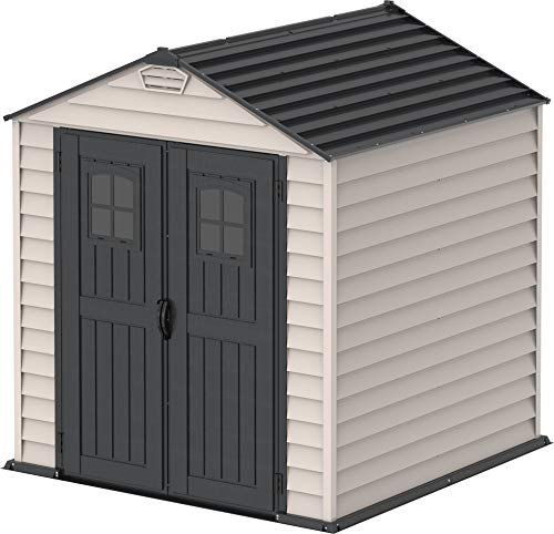 Duramax StoreMax 7 x 7 PLUS Plastic Garden Shed with Heavy-Duty Plastic Floor and Fixed Window on Doors, Strong Metal Roof Structure Fire Retardant and Maintenance-Free Storage Shed, Dark Grey/Adobe