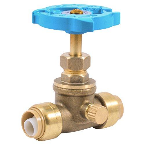 SharkBite 24634LFA Stop Drain x 1/2 inch, Water Valve Shut Off, Push-to-Connect, PEX, Copper, CPVC, PE-RT, 1/2 Inch x 1/2 inch, Brass/Blue