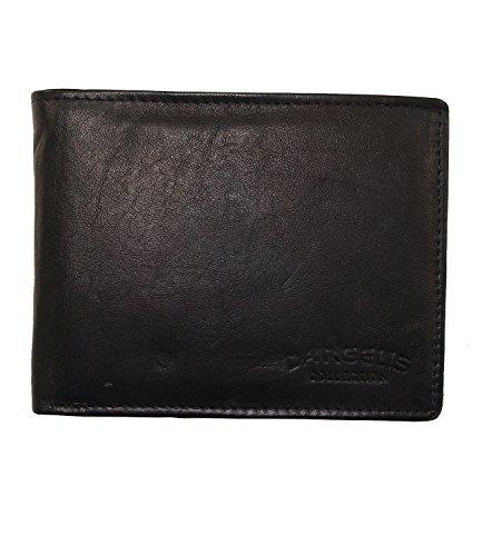 Herren Portemonnaie aus weichem echtem Leder im Querformat robuste Geldbörse Ledergeldbörse Geldbeutel Schwarz 5601 (Schwarz)