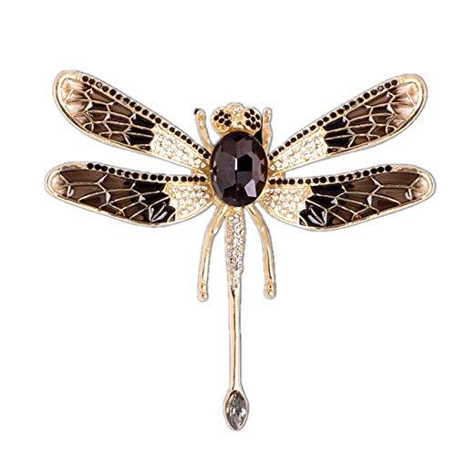 Broches de libélula esmaltados grandes para mujer, broches informales con diamantes de imitación para fiesta de insectos, regalos-negro