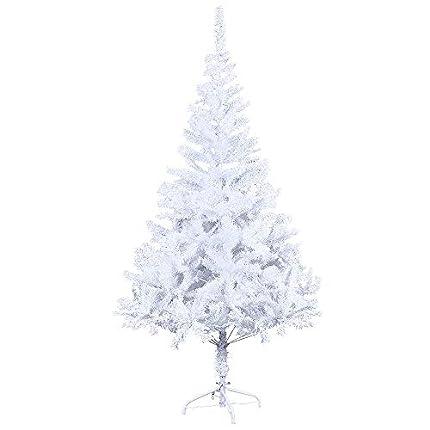 LARS360 Árbol de Navidad Árbol Artificial Arboles Decoración Navideña, Material Blanco PVC, Blanco con Soporte en Metal, Altura 6ft - 180cm