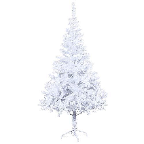 LARS360 Künstlicher Weihnachtsbaum Christbaum Tannenbaum inkl. Metallständer Künstliche Tanne mit Klappsystem Für Aussen Weihnachtsdeko Innen Weihnachten-Dekoration Innen (Weiß PVC, 150cm)