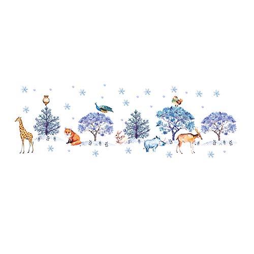Qinlee Animal Flocon de Neige Sapin Stickers Muraux PVC TV Salon Contexte Décor Stickers Muraux Art Murale 60cm*90cm