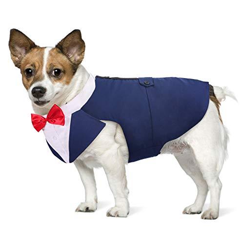 PUMYPOREITY Dog Hochzeit Anzug, Smoking-Kostüme, Formelle Party-Outfits Shirt Hund Kleidung Hundefliege Hochzeit mit Abnehmbarem Schleife Bandana für Kleine Mittelgroße Hunde(Blau, M)