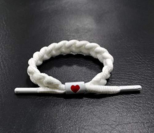 LLXXYY gevlochten armband, vintage gevlochten touw, handgemaakte armband/veters, katoen, met rode hartjes, voor vrouwen en mannen en kinderen