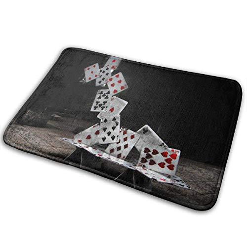 Unbekannt Abstraktes Kartenschloss Poker Eingangstürmatte Badboden Home rutschfeste Fußmatte Badezimmerteppich