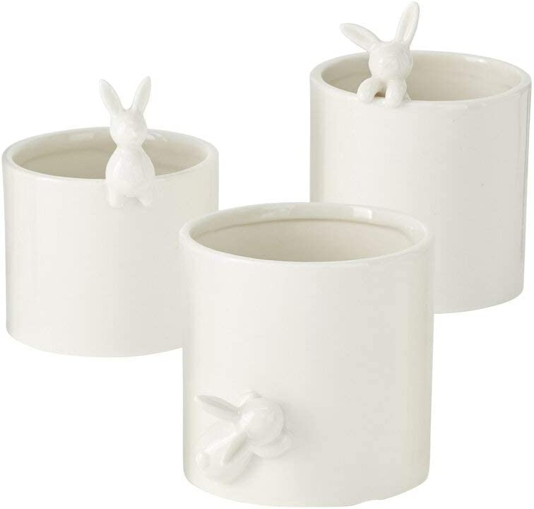 Accent Decor Set of 3 White Glazed with Porcelain Pots Don't In a popularity miss the campaign Bunnies