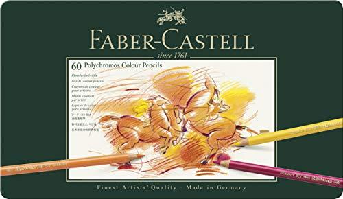 Faber-Castell 110060 Crayon de couleur Polychromos boîte métal de 60 pièces