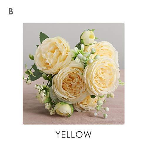 Kunstbloemen, kunstbloemenboeket, kunstdecoratieve bloemen, namaakzijde pioenroos bloemenboeket, bloemenplanten voor bruiloftsdecoratie geel