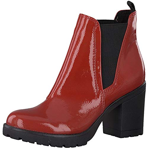 MARCO TOZZI Damen Stiefeletten Chelsea Boots Lack Patent, Farbe:Rot (Red Patent), Größe:EUR 42