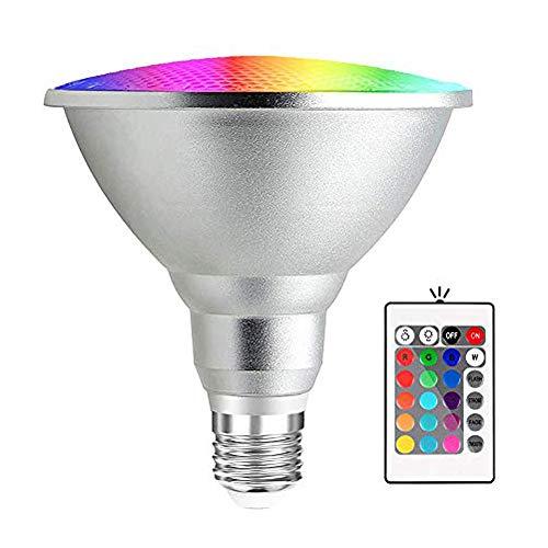 Bonlux 20W Bombilla LED RGB E27 Par38 Impermeable con Controlador Remoto Mando IR de 24 teclas (RGB y Blanco Frío)
