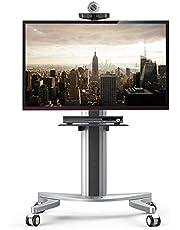 Loctek テレビスタンド 32-70インチ液晶テレビ対応 高さ角度調整 キャスター付き 棚板付き 移動式 壁寄せ大型テレビ台 P2