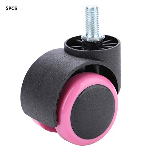 Zwenkwiel, 5-delig PU-zwenkwiel, 5 cm/2 inch zwenkwielen, 360 ° universele 2-inch zwenkwielen, PU-materiaal, goede slijtvastheid, laag geluidsniveau, voor bureaustoel, competitieve gamestoel