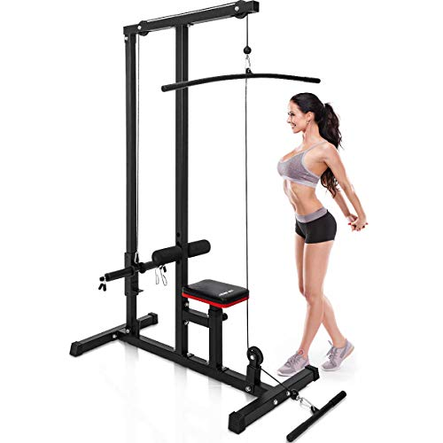 Merax LAT Pulldown and Low Row Cable Machine for Home Gym Fitness Training (Black)