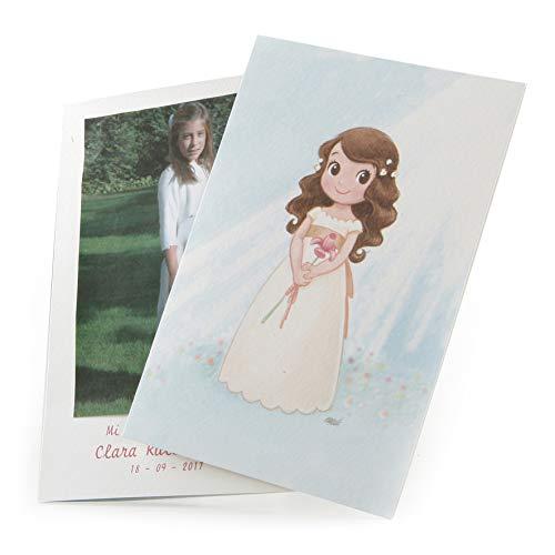 Mopec Portafoto para Primera Comunión de niña con un Lirio, Pack de 25 Unidades, Cartulina, Multicolor, 0.02x11.50x17.00 cm