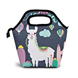 Reusable Lunch Bag,Cute Alpaca With Cactus Lunch Bag Picnic Office Outdoor Thermal Carrying Gourmet Lunchbox Colorful Hot Air Balloon Lunch Tote Container Tote Cooler Warm Pouch For Men,Women